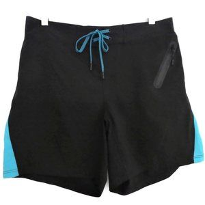 Laird Swim Shorts Pockets Black Turquoise Zip L